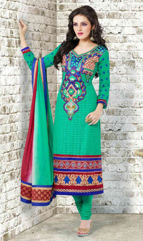 Green long salwar kameez for women with churidar salwar and dupatta.