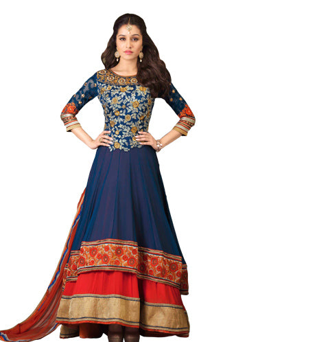 Fall in love with this aashiqui2 girl, Shraddha Kapoor Designer Anarkali Suit. This Anarkali Salwar Kameez Dress is adorned with Zari, resham embroidery, Stone-Work & patch patta Work. This stunning attire is completed with trendy salwar and a stylish Dupatta.