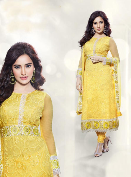 EXCITING YELLOW PURE CHIFFON ANARKALI SUIT
