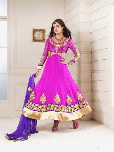 EXQUISITE PINK DESIGNER ANARKALI DRESS 1752