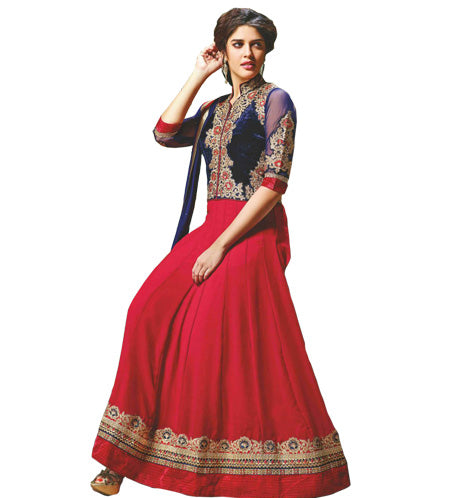 EYE-CATCHING MAROON & BLUE JACKET LOOK ANARKALI DRESS MJDS13A
