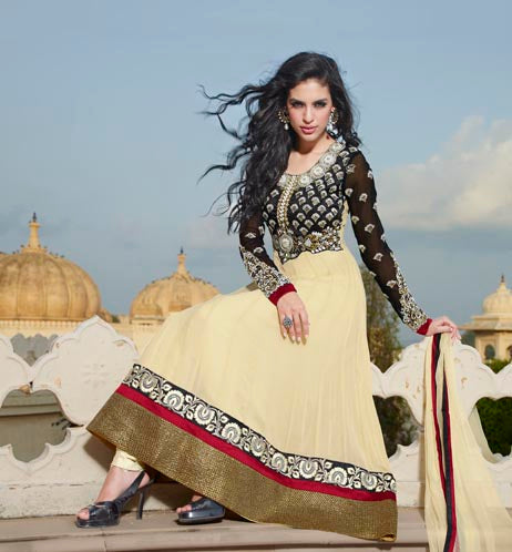 Cream and Black Pure Georgette anarkali suit with pure chiffon dupatta with heavy sleeves and neck full of hand work