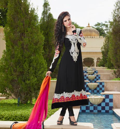 Black Pure Georgette anarkali suit with pure chiffon shaded dupatta and jardhoshi work