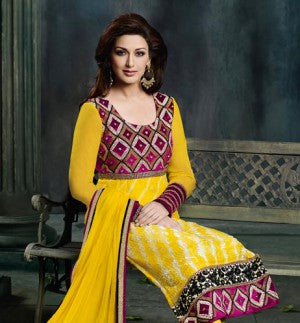 Yellow colored Bollywood Inspired Sonali Bendre Collection Diwali 2013 salwaar kameez