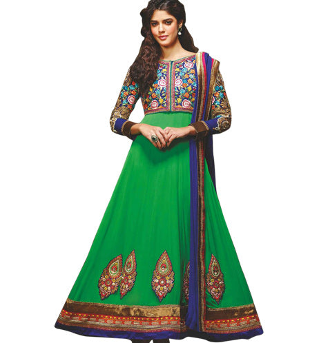 GLAMOROUS GREEN GEORGETTE ANARKALI SUIT MJDS10A