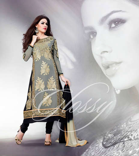 Arrive in Style with this Designer Grey & Black faux georgette Anarkali Churidar Suit. Beautiful Resham, zari embroidery with patch Patta work, Stylish Back and sleeves work is done on the dress to beautify it. The set is completed with a beautiful Black Churidar bottom and a stylish Shaded dupatta.