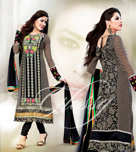 Arrive in Style with this Designer Black faux georgette Anarkali Churidar Suit. Beautiful Print, Bright Resham embroidery with patch Patta work, Stylish Back & Sleeves work is done on the dress to beautify it. The set is completed with a beautiful black Churidar bottom and a stylish black dupatta.