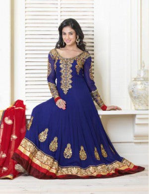 BLUE WITH RED FROCK STYLE SALWAR SUIT