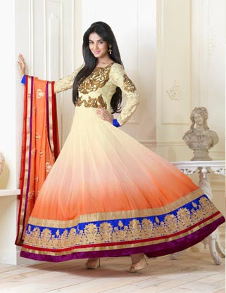 ORANGE WITH CREAM FROCK STYLE SALWAR SUIT