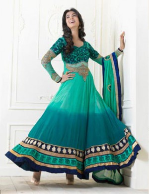 GREEN FROCK STYLE SALWAR SUIT