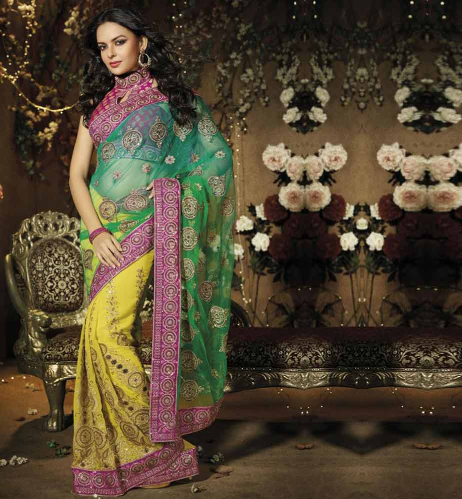 Be the Eye-Candy with this striking Saree crafted beautifully from Green & Yellow Net & Georgette material. Amazing Sequence, Zari embroidery and Patch Patta Work adds glamour and style to this sari. Beautiful Pink Viscose material Blouse is provided to make it drop deadly.