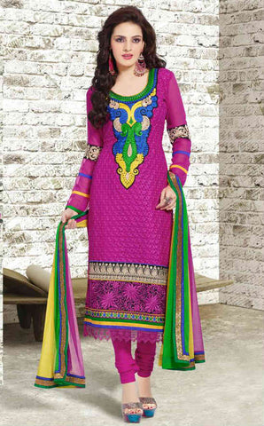 Pink latest fashion alwar suit for women with churidar salwar and dupatta.