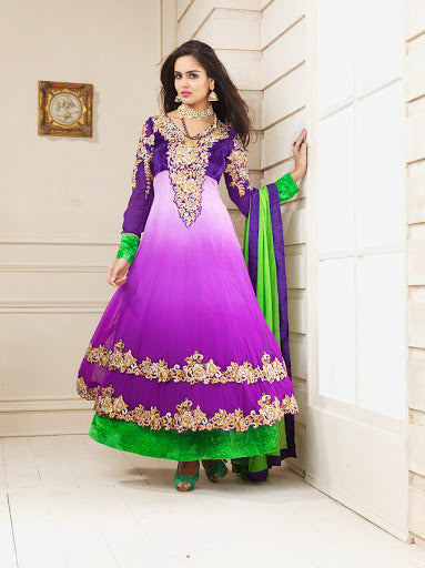 PLEASING PURPLE SHADED ANARKALI DRESS 1750