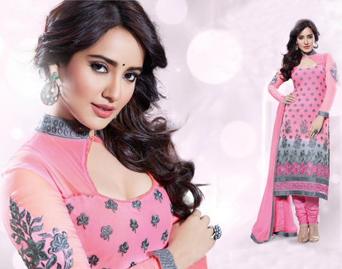PRETTY PINK PURE GEORGETTE ANARKALI SUIT