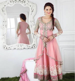 Pink Anarkali with Chiffon Dupatta having Top Net Jacket Style and Santoon Bottom & Inner
