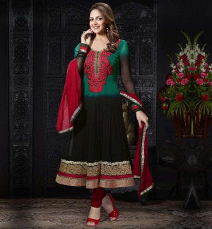 Shaded Black & Green Designer Esha Deol Anarkali Salwar Kameez Suit.