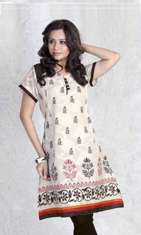 Beat the heat with this stylish and comfortable cream Color Cotton Kurti with elegant small and big floral printed Buttas. Team It up with a churidar salwar or give it a fusion look with a pair of jeans and your favorite accessories to get all the praises.