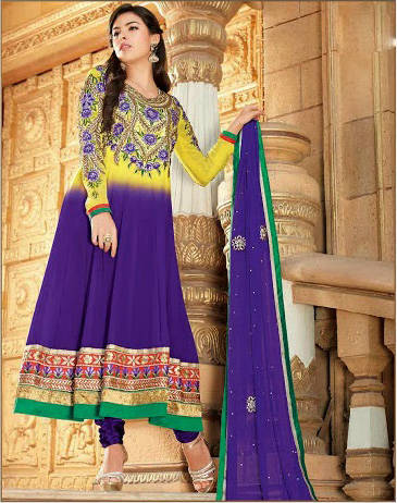 Be The Show Stopper With This Stunning Shaded Yellow & Purple Georgette Material Anarkali Dress. To Give It A Killer Look It Is Enhanced With Stunning Heavy Traditional Floral Look Embroidery Work And A Patch Patta Border. This Designer Attire Is Completed With A Beautiful Churidar Bottom And A Designer Dupatta. (Please note: color variation is possible due to difference in screen resolutions)