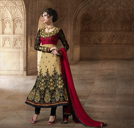 Make everyone breathless through this new stunning Cream, Black & Maroon georgette Anarkali dress with extra-ordinary embroidery work. Fine-looking heavy Black & Rani border, stylish black Churidar bottom and a stylish maroon dupatta surely increases the beauty of the dress.