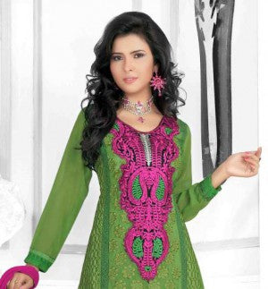Pink and Green Faux Georgette Kameez with Chiffon Dupatta and Crepe Inner with Yock resham embroidery with Crosia Lace border