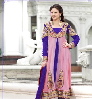 Pink and Maroon colored churidar kurti with TOP PURE GEORGET having blue colored chiffon DUPPTA and santoon BOTTOM&INNER