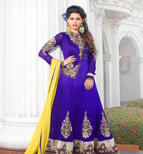 Blue colored churidar kurti with TOP PURE GEORGET having Yellow chiffon DUPPTA and santoon BOTTOM&INNER