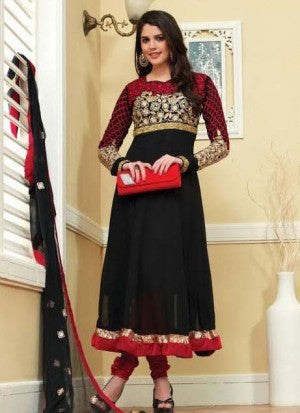 Fashion Online Shopping Indian Women Clothing Black Georgette, net and Velvet Anarkali Salwaar Kameez Dresses with chiffon Dupatta and Red colored Embroidery