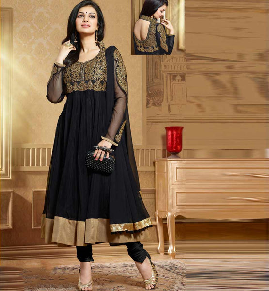 Ayesha Takia in Designer black color Anarkali salwar kameez