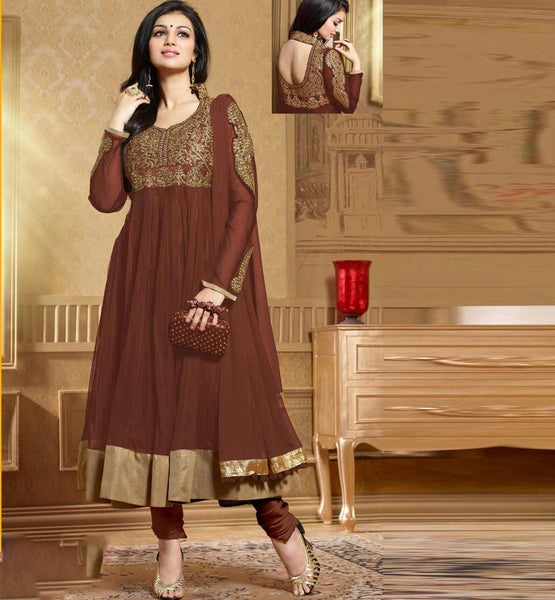 Ayesha Takia in Designer brown color Anarkali salwar kameez