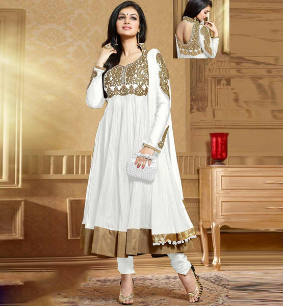 Ayesha Takia in Designer off-white cream color Anarkali salwar kameez