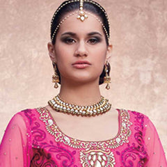 Jewellery - Lovely Golden Head Gear, Broad Necklace & Earrings
