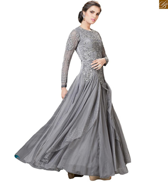 Ever-stylish evening gowns patterns suitable to wear in parties, Grey Net full sleeve with embroidered back side floral embroidery work & mesmerizing stone work image