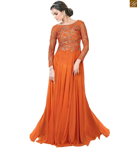 Long gowns designs with embroidered long sleeves and backless, Red Net designer gown with fabulous stone work on sleeve & upper part of boat type neck for women