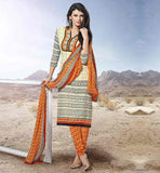 SIMPLE STYLISH COTTON PRINTED SALWAR KAMEEZ DRESS ATTRACTIVE STRAIGHT CUT CREAM PRINTED SALWAR KAMEEZ & DUPATTA