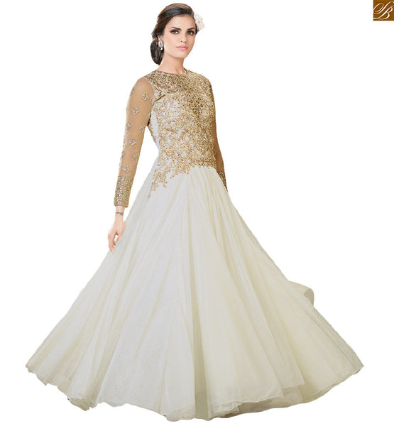 Buy Indian evening gowns designer wear with fancy long sleeves, Amazing style Off-White Net Gown with heavy embroidery on upper part & back side plus stone work