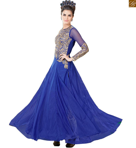 Buy Long gown designs collection of new backless style online india, Princess style looking Blue Net Maxi with Floral heavy embroidery on upper part and sleeves