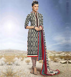 OFFICE WEAR PRINTED COTTON SALWAR KAMEEZ COLLECTION BLACK STYLISH STRAIGHT CUT PRINTED SALWAR KAMEEZ WITH DUPATTA