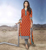 BEAUTIFUL OFFICE WEAR SALWAR SUITS FOR INDIAN WOMEN KNOCKOUT STRAIGHT CUT ORANGE PRINTED COTTON SALWAR KAMEEZ & DUPATTA