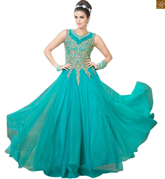 Image of Long gown dresses online suitable to wear in parties for girls rama net sleeveless heavy embroidered work gown and stone work on upper part and back side