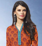 KNOCKOUT STRAIGHT CUT ORANGE PRINTED COTTON SALWAR KAMEEZ & DUPATTA CHUDIDAR DRESS PATTERNS SUIT FASHION 2015 STYLISH SALWAR KAMEEZ DESIGNS LATEST