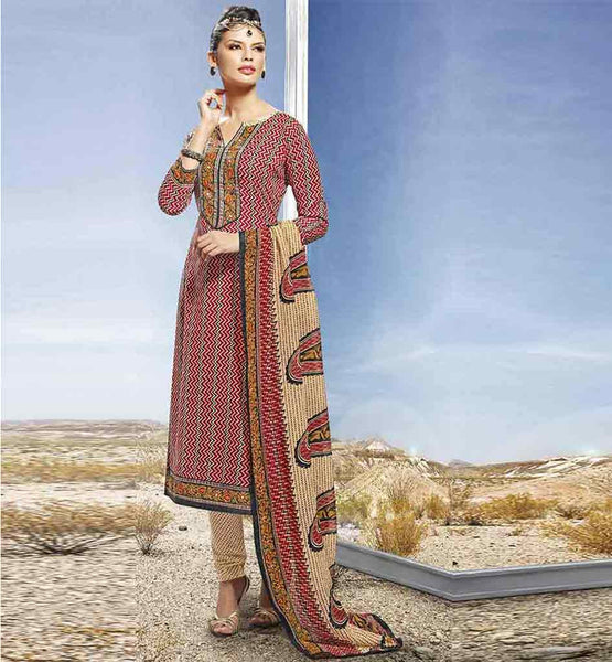 CASUAL WEAR SALWAR SUITS WITH DUPATTA FOR WOMEN RED COTTON STUNNING PRINTED STRAIGHT CUT SALWAR KAMEEZ & DUPATTA