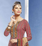 RED COTTON STUNNING PRINTED STRAIGHT CUT SALWAR KAMEEZ & DUPATTA CHUDIDAR DRESS PATTERNS SUIT FASHION 2015 STYLISH SALWAR KAMEEZ DESIGNER WEAR