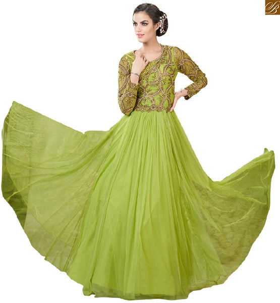Parrot-Green Indo western gowns designs collection of backless dress pattern of embroidery, Tikki, Bid, Pearl work on three fourth sleeve, Bodice, Back and Neck