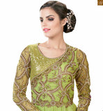 Image of Luxurious indo western gowns designs collection of heavy stone work backless dress pattern online shop parrot-green net embroidered work on three fourth type sleeve with embroidery on upper part