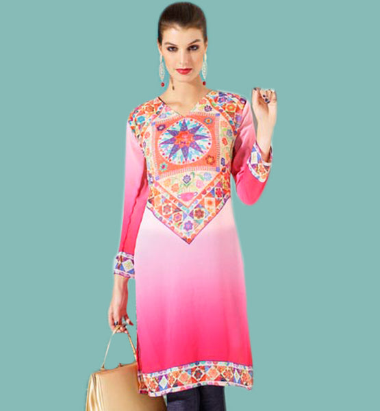 Top dot digital print kurti