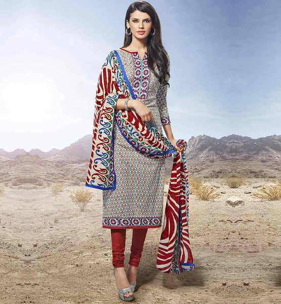 LATEST SALWAR KAMEEZ DESIGNS FOR OFFICE GOING WOMEN OFF WHITE STRAIGHT CUT COTTON SALWAR KAMEEZ WITH GRACEFUL STYLE