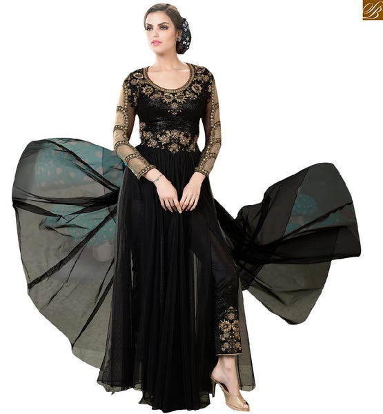 Image of Long gowns dresses collection of backless pattern online shopping black net designer three fourth stone work sleeves with heavy embroidered upper part