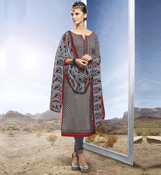 DESIGNER COTTON SALWAR SUIT FOR INDIAN WORKING WOMEN PRETTY GREY COTTON STRAIGHT CUT SALWAR SUITS WITH LOVELY STYLE