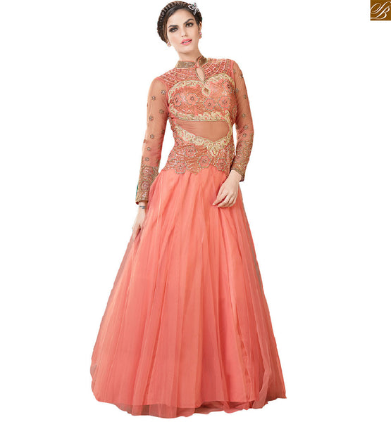 Net gown designs collection of indian formal dresses for stylish women, Orange colorful backless design with heavy stone work and heavy embroidered sleeves