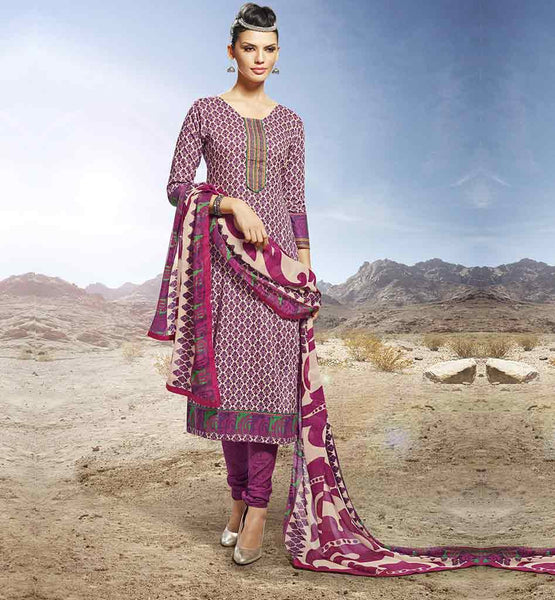 LATEST PUNJABI SUITS FOR WOMEN WITH CHURIDAR SALWAR MAGENTA STRAIGHT CUT SALWAR KAMEEZ & DUPATTA WITH SEMI CASUAL LOOK